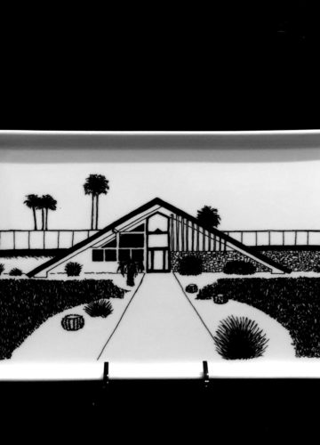 Vista Las Palmas Swiss Miss 1958. Porcelain Tray. Architects: George & Robert Alexander. Food and dishwasher safe.