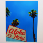 Aloha. Colorful photo printed with metallic ink, creating an almost 3-D effect. Photo taken in Palm Springs, CA.
