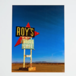 "Roy's - Amboy, CA. Roy's in Amboy, CA. Near Joshua Tree on the old abandoned historic Route 66, in the middle of nowhere. This colorful, vintage sign photo was printed with metallic ink. 16"" x 20"" Matted."