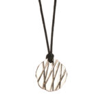 Bamboo Collection Pendant Nickel over steel from a vintage automobile. With silk cord.