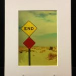End. Colorful photo printed with metallic ink, creating an almost 3-D effect. Photo taken in Salton Sea, CA.
