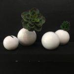 White Orb Vase - Metal