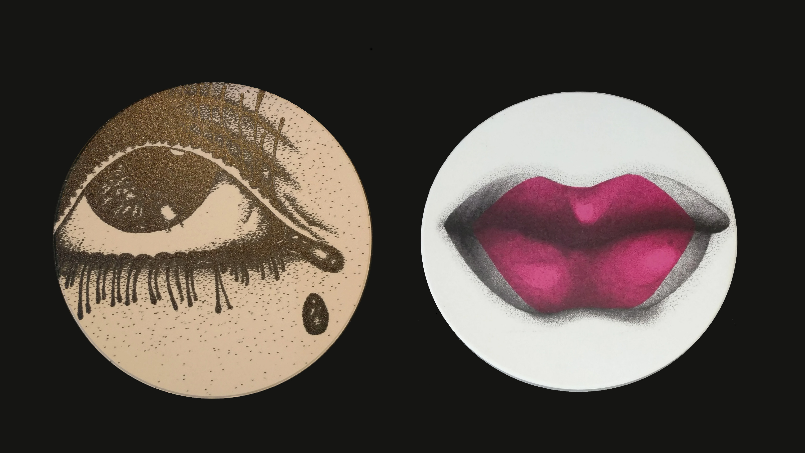 Lips and eyes coasters